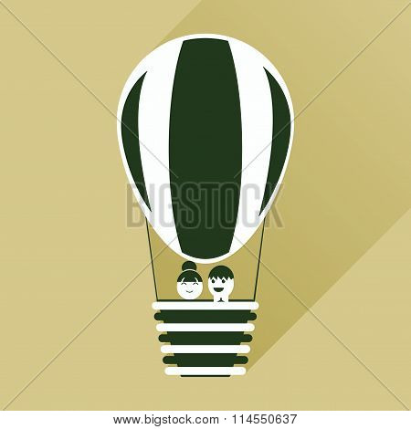 flat icon with long shadow newlyweds in balloon