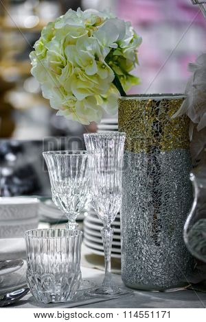 decorated table with vase