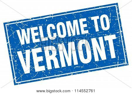 Vermont Blue Square Grunge Welcome To Stamp