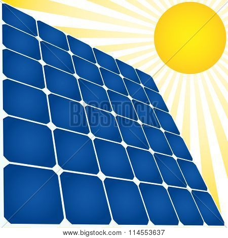 Solar energy icon. Solar panel and Sun.