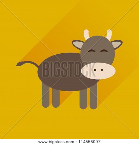 Flat icon with long shadow cow calf