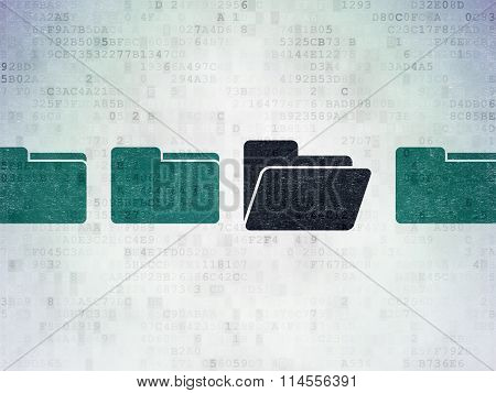 Business concept: folder icon on Digital Paper background