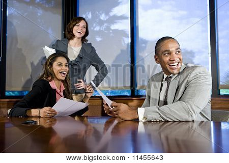 Multiracial Businesspeople Watching Presentation