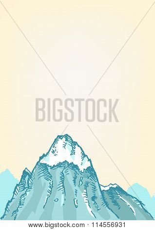 Hand drawn style of a Freezing Mountain top. Editable Clip art.