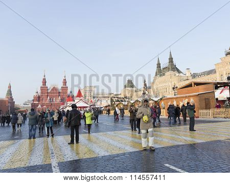Tourists On Red Square In Winter