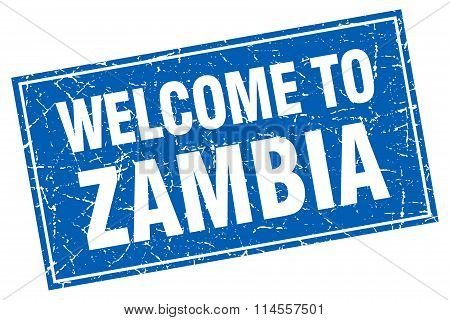Zambia Blue Square Grunge Welcome To Stamp