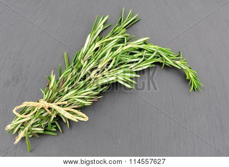 Rosemary Herb On Slate Background