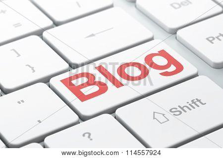 Web design concept: Blog on computer keyboard background