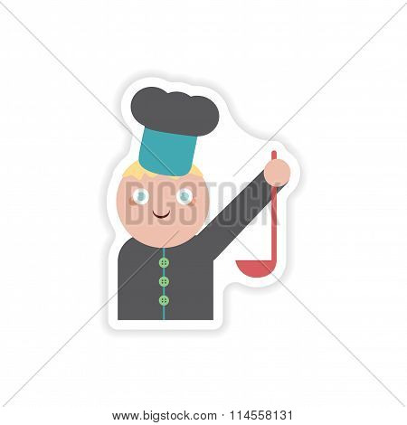 stylish paper sticker on white background cook with ladle