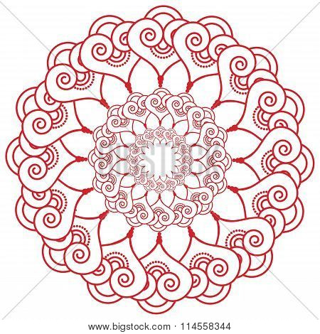 Indian Henna Tattoo Inspired Flower Shape With  Hearts Elements In Red.eps