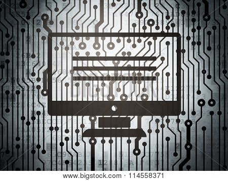 Web development concept: circuit board with Monitor