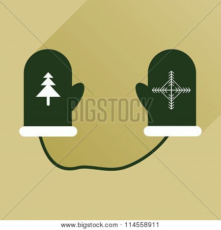 flat icon with long shadow mittens and snowflakes