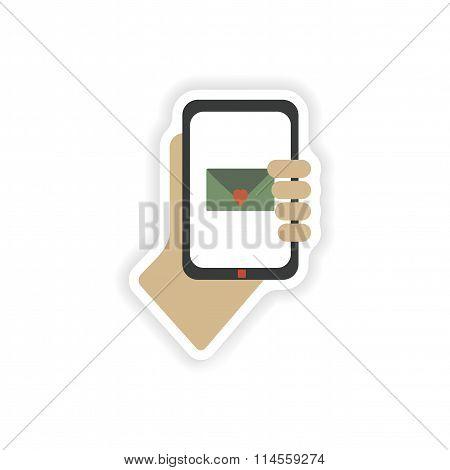 stylish paper sticker on white background romantic sms