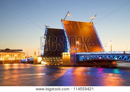 Divorced Palace Bridge with blue backlight white night. St. Petersburg