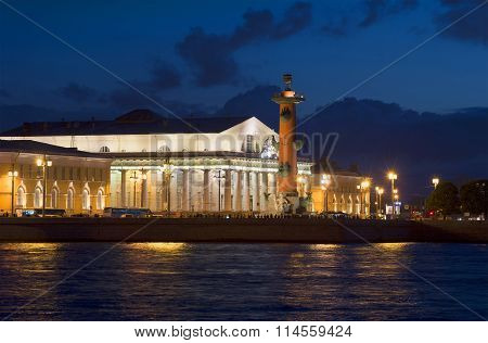 South Rostral column and stock Exchange building summer night. The spit of Vasilyevsky island, St. P