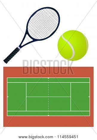 Tennis  Ball, Court, Racket