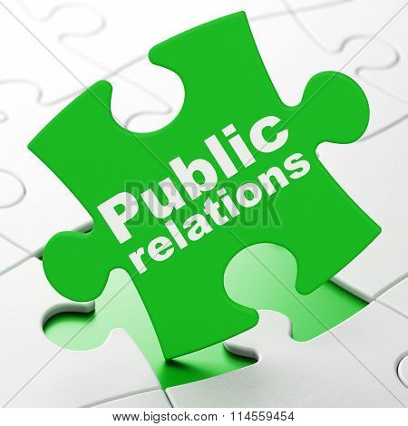 Advertising concept: Public Relations on puzzle background