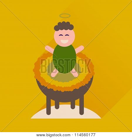 Flat icon with long shadow newborn Jesus Christ