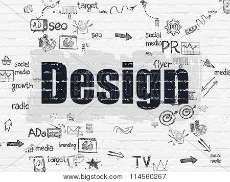 Advertising concept: Design on wall background