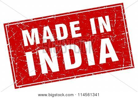 India Red Square Grunge Made In Stamp
