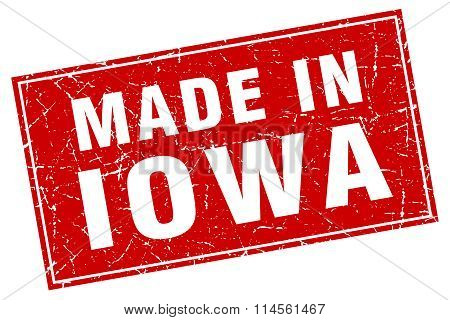 Iowa Red Square Grunge Made In Stamp