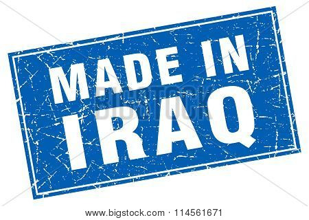 Iraq Blue Square Grunge Made In Stamp