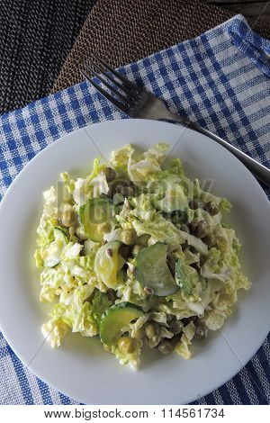 Salad With Peking Cabbage And Cucumber