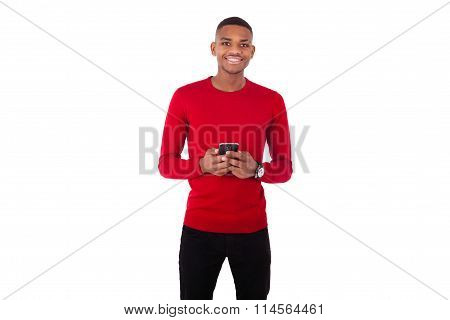 African American Young Man Sending A Text Message On Her Smartphone - Black Teenager People
