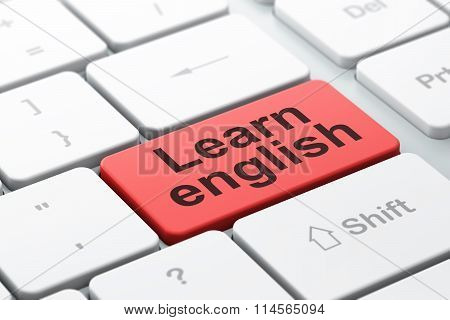 Studying concept: Learn English on computer keyboard background