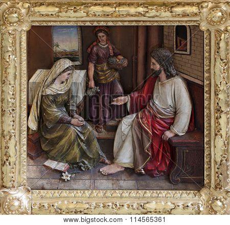 STITAR, CROATIA - NOVEMBER 24: Christ in the House of Mary and Martha, main altar in the church of Saint Matthew in Stitar, Croatia on November 24, 2015