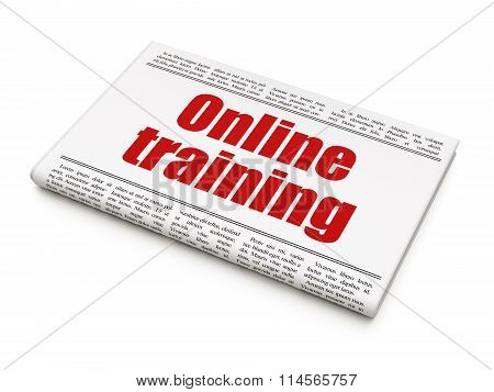 Education concept: newspaper headline Online Training