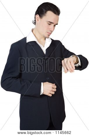 Attractive Executive Young Person Watching The Clock