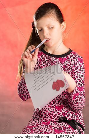 Girl Writes, Composes A Love Letter.