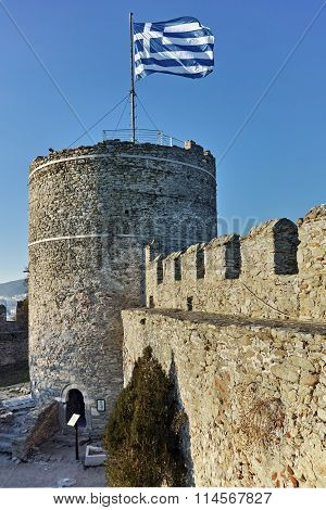 Tower of the Byzantine fortress in Kavala, East Macedonia and Thrace
