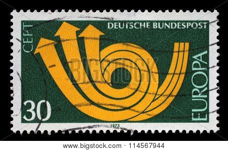 GERMANY - CIRCA 1973: A Stamp printed in the GERMANY shows CEPT (European Conference of Postal and Telecommunications) symbol, circa 1973