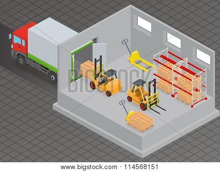 Isometric loading and unloading of goods in a warehouse using a forklift.