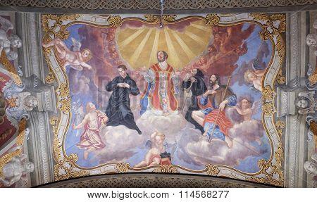 LJUBLJANA, SLOVENIA - JUNE 30: Saints, fresco in the Franciscan Church of the Annunciation on Preseren Square in Ljubljana, Slovenia on June 30, 2015