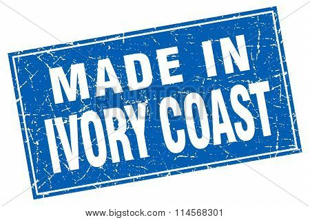 Ivory Coast blue square grunge made in stamp