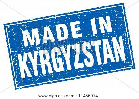 Kyrgyzstan blue square grunge made in stamp