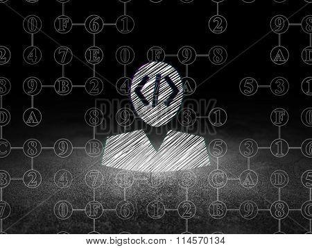 Programming concept: Programmer in grunge dark room
