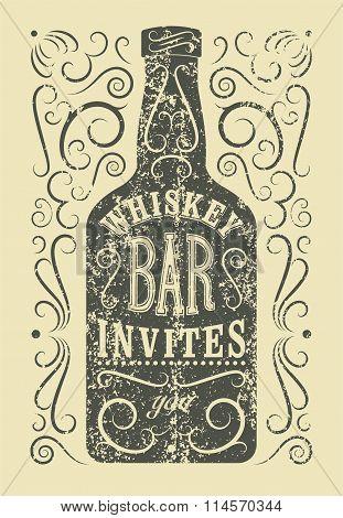 Typographic retro grunge design Whiskey Bar poster. Vintage label with stylized whiskey bottle. Vect