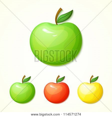 Set of different colors apples vector illustration