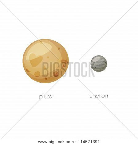 Pluto and its moon Charon, space objects