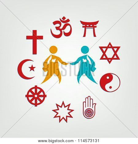 Interfaith Dialogue illustration. Editable Clip Art.