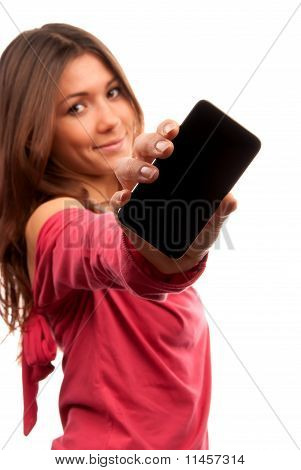 Woman Showing Display Of Touch Mobile Cell Phone
