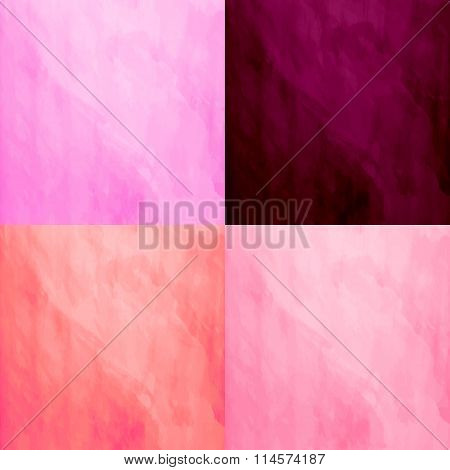 Set of 4 watercolor backgrounds