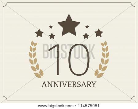 Ten years anniversary celebration logotype. 10th anniversary logo.