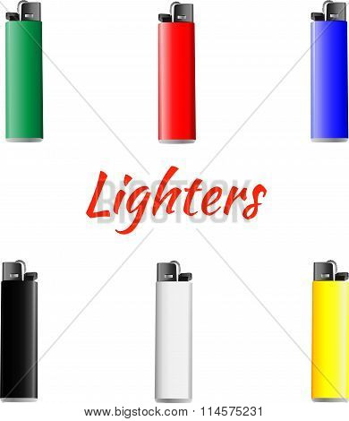 Vector set of lighters