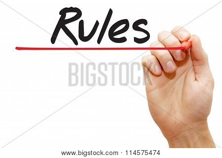 Hand Writing Rules, Business Concept..