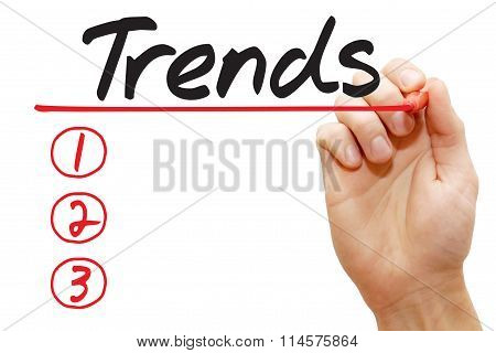 Hand Writing Trends List, Business Concept..